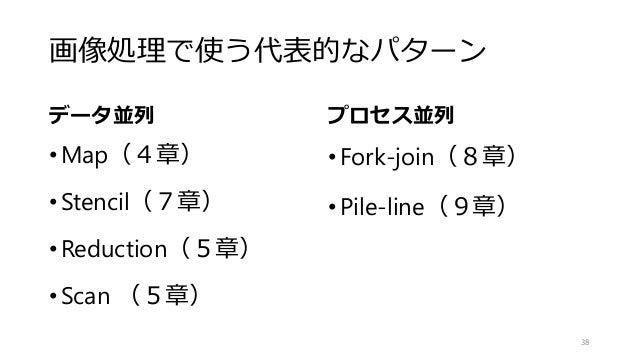 画像処理で使う代表的なパターン データ並列 •Map(4章) •Stencil(7章) •Reduction(5章) •Scan (5章) プロセス並列 •Fork-join(8章) •Pile-line(9章) 38