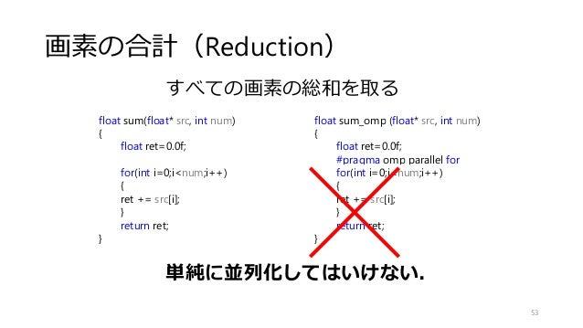 画素の合計(Reduction) 53 float sum(float* src, int num) { float ret=0.0f; for(int i=0;i<num;i++) { ret += src[i]; } return ret;...