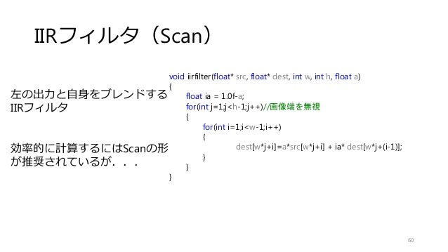 IIRフィルタ(Scan) 60 void iirfilter(float* src, float* dest, int w, int h, float a) { float ia = 1.0f-a; for(int j=1;j<h-1;j++...