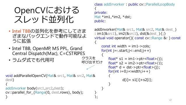 OpenCVにおける スレッド並列化 • Intel TBBの並列化を参考にしてさま ざまなバックエンドで動作可能なよ うに拡張 • Intel TBB, OpenMP, MS PPL, Grand Central Dispatch(Mac),...