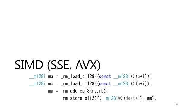 SIMD (SSE, AVX) __m128i ma = _mm_load_si128((const __m128i*)(a+i)); __m128i mb = _mm_load_si128((const __m128i*)(b+i)); ma...