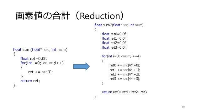 画素値の合計(Reduction) 80 float sum(float* src, int num) { float ret=0.0f; for(int i=0;i<num;i++) { ret += src[i]; } return ret...