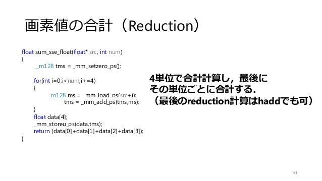 画素値の合計(Reduction) 81 float sum_sse_float(float* src, int num) { __m128 tms = _mm_setzero_ps(); for(int i=0;i<num;i+=4) { _...
