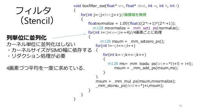 フィルタ (Stencil) 82 void boxfilter_sse(float* src, float* dest, int w, int h, int r) { for(int j=r;j<h-r;j++)//画像端を無視 { floa...