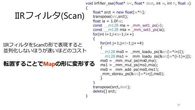 IIRフィルタ(Scan) 85 IIRフィルタをScanの形で表現すると 並列化しないほうが速いほどのコスト 転置することでMapの形に変形する void iirfilter_sse(float* src, float* dest, int ...