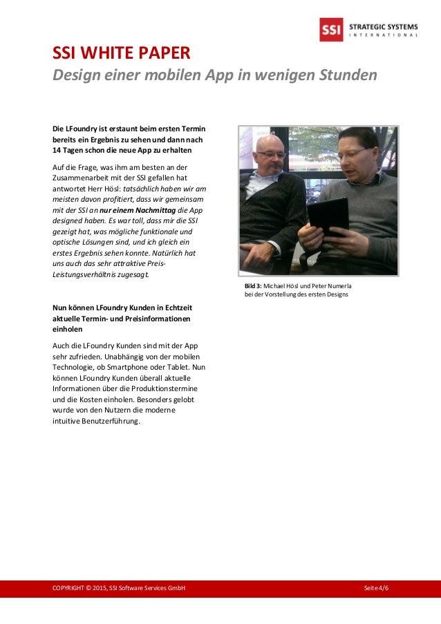 SSI WHITE PAPER Design einer mobilen App in wenigen Stunden COPYRIGHT © 2015, SSI Software Services GmbH Seite 4/6 Die LFo...
