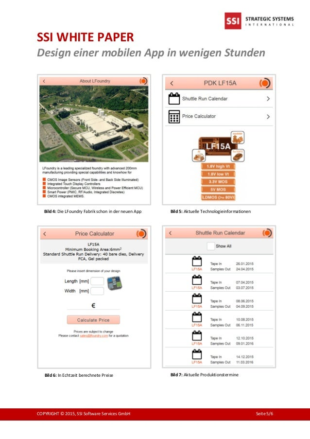 SSI WHITE PAPER Design einer mobilen App in wenigen Stunden COPYRIGHT © 2015, SSI Software Services GmbH Seite 5/6 Bild 5:...