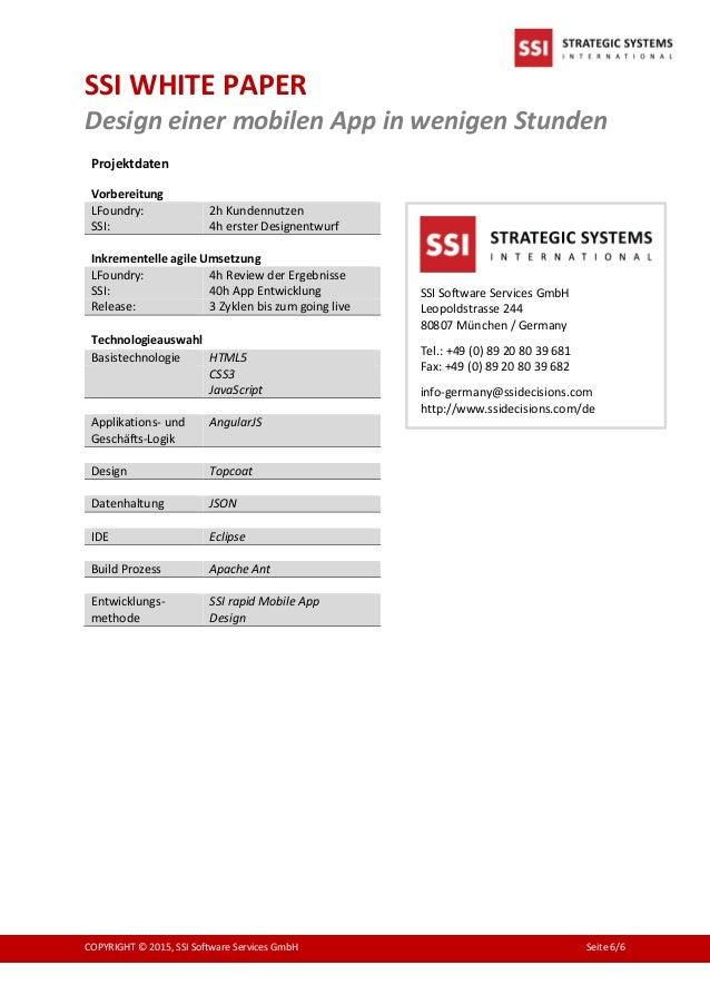 SSI WHITE PAPER Design einer mobilen App in wenigen Stunden COPYRIGHT © 2015, SSI Software Services GmbH Seite 6/6 Projekt...