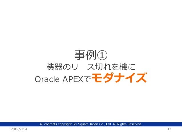 All contents copyright Six Square Japan Co., Ltd. All Rights Reserved. 2019/2/14 12 事例① 機器のリース切れを機に Oracle APEXでモダナイズ