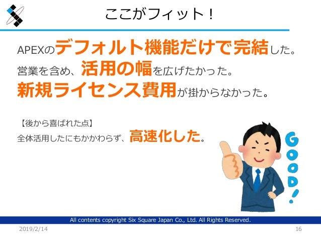All contents copyright Six Square Japan Co., Ltd. All Rights Reserved. ここがフィット! 2019/2/14 16 APEXのデフォルト機能だけで完結した。 営業を含め、活用...