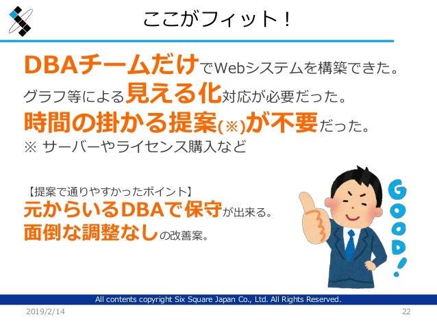 All contents copyright Six Square Japan Co., Ltd. All Rights Reserved. ここがフィット! 2019/2/14 22 DBAチームだけでWebシステムを構築できた。 グラフ等に...