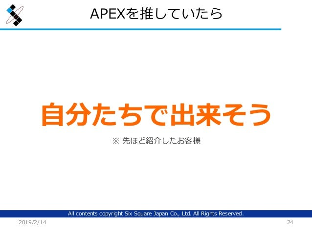 All contents copyright Six Square Japan Co., Ltd. All Rights Reserved. APEXを推していたら 2019/2/14 24 自分たちで出来そう ※ 先ほど紹介したお客様