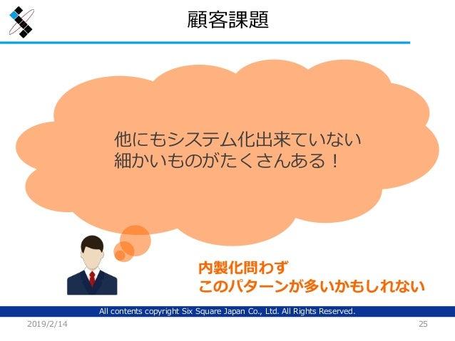 All contents copyright Six Square Japan Co., Ltd. All Rights Reserved. 顧客課題 2019/2/14 25 他にもシステム化出来ていない 細かいものがたくさんある! 内製化問...