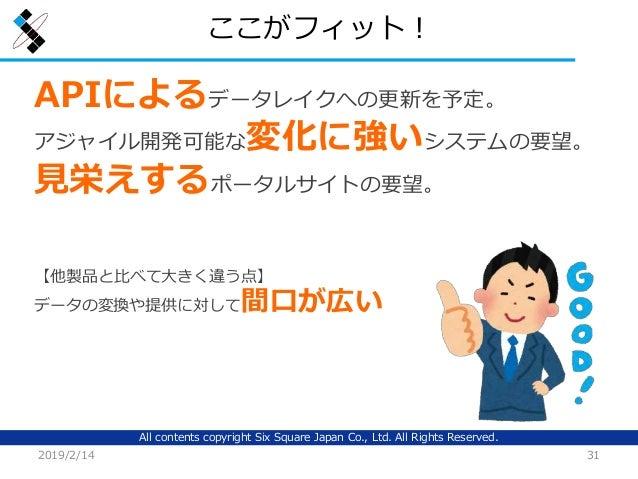 All contents copyright Six Square Japan Co., Ltd. All Rights Reserved. ここがフィット! 2019/2/14 31 APIによるデータレイクへの更新を予定。 アジャイル開発可...