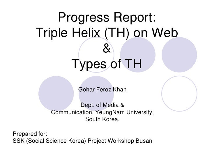 Progress Report:Triple Helix (TH) on Web&Types of TH<br />Gohar Feroz Khan<br />Dept. of Media & Communication, YeungNam U...
