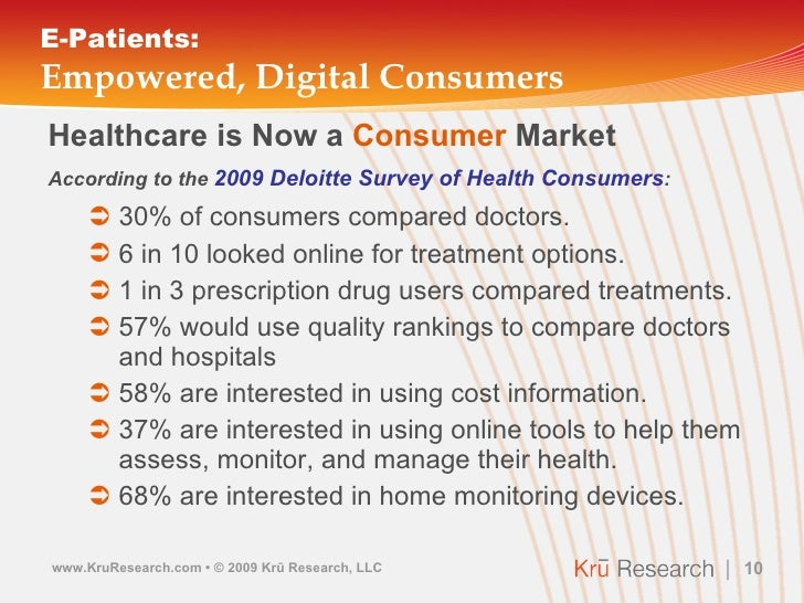 E-Patients: Empowered, Digital Consumers <ul><li>Healthcare is Now a  Consumer  Market </li></ul><ul><li>According to the ...