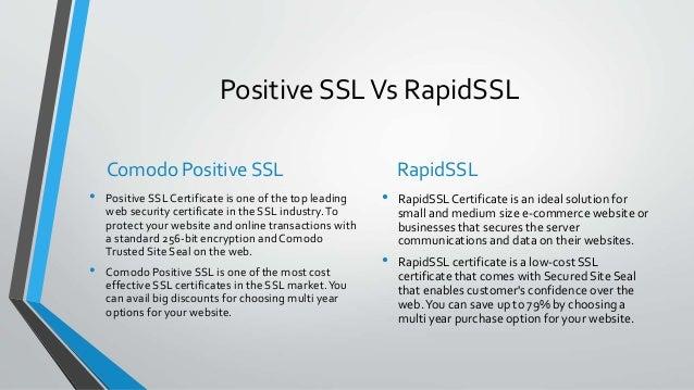 SSL Certificate Comparison: PositiveSSL Vs RapidSSL