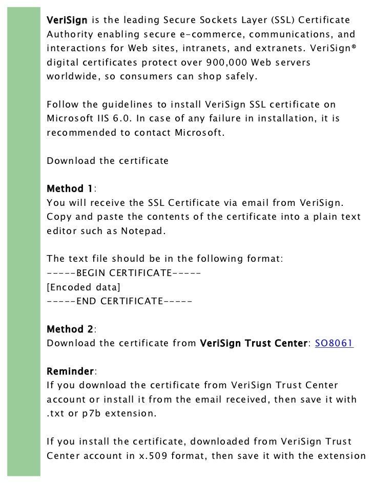 Verisign Ssl Installation Guideline On Microsoft Iis 6 From Rapidsslo
