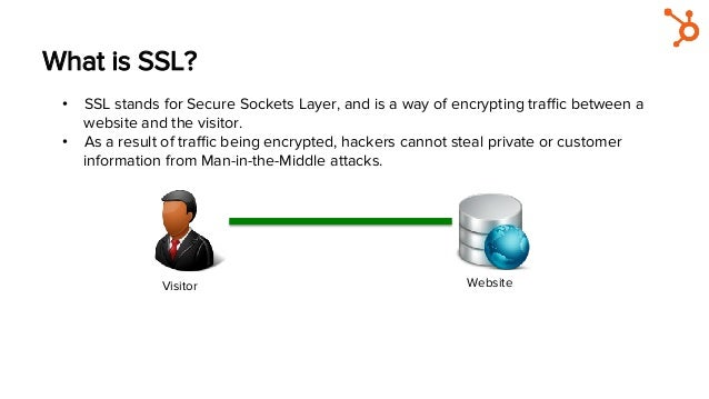What is SSL? Visitor Hacker Website • SSL stands for Secure Sockets Layer, and is a way of encrypting traffic between a web...