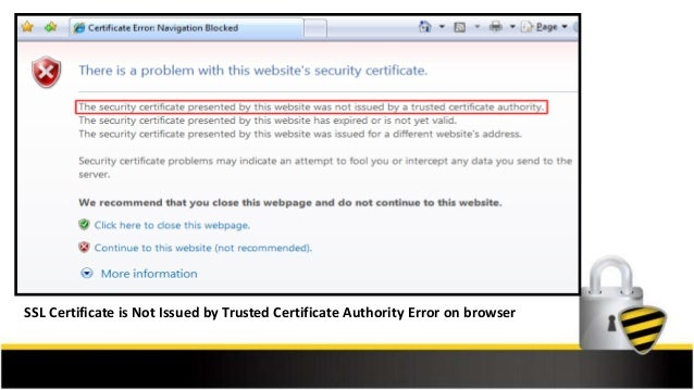 SSL Certificate Error - The SSL Certificate not Issued by a