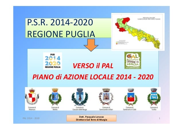 P.S.R.2014‐2020 REGIONEPUGLIA VERSOilPAL PIANOdiAZIONELOCALE2014‐ 2020 PAL2014‐ 2020 1 Dott.PasqualeLorusso...