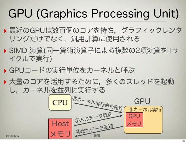 GPU (Graphics Processing Unit)‣ 最近のGPUは数百個のコアを持ち,グラフィックレンダ リングだけでなく,汎用計算に使用される‣ SIMD 演算(同一算術演算子による複数の2項演算を1サ イクルで実行)‣ GPUコ...