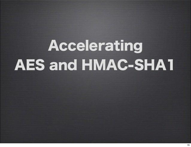 AcceleratingAES and HMAC-SHA1                    15