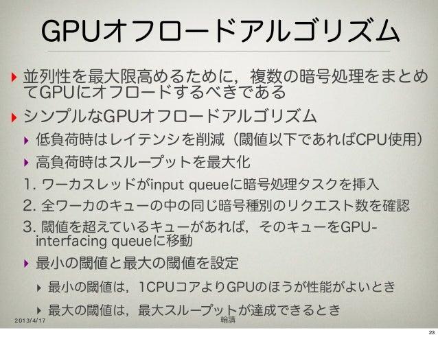 GPUオフロードアルゴリズム‣ 並列性を最大限高めるために,複数の暗号処理をまとめ  てGPUにオフロードするべきである‣ シンプルなGPUオフロードアルゴリズム  ‣ 低負荷時はレイテンシを削減(閾値以下であればCPU使用)  ‣ 高負荷時は...
