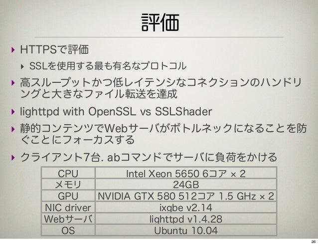 評価‣ HTTPSで評価 ‣ SSLを使用する最も有名なプロトコル‣ 高スループットかつ低レイテンシなコネクションのハンドリ ングと大きなファイル転送を達成‣ lighttpd with OpenSSL vs SSLShader‣ 静的コンテン...