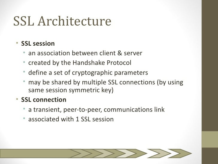 SSL Architecture• SSL session  • an association between client & server  • created by the Handshake Protocol  • define a s...