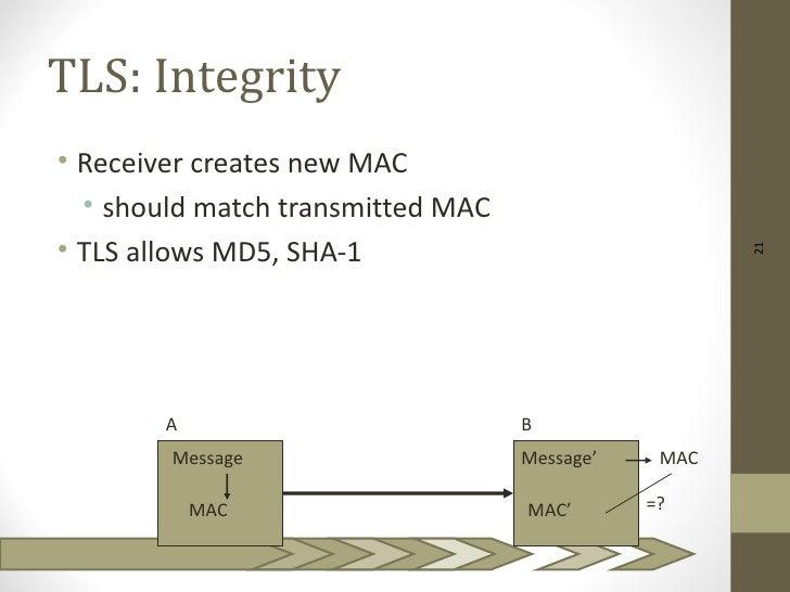 TLS: Integrity• Receiver creates new MAC  • should match transmitted MAC• TLS allows MD5, SHA-1                           ...