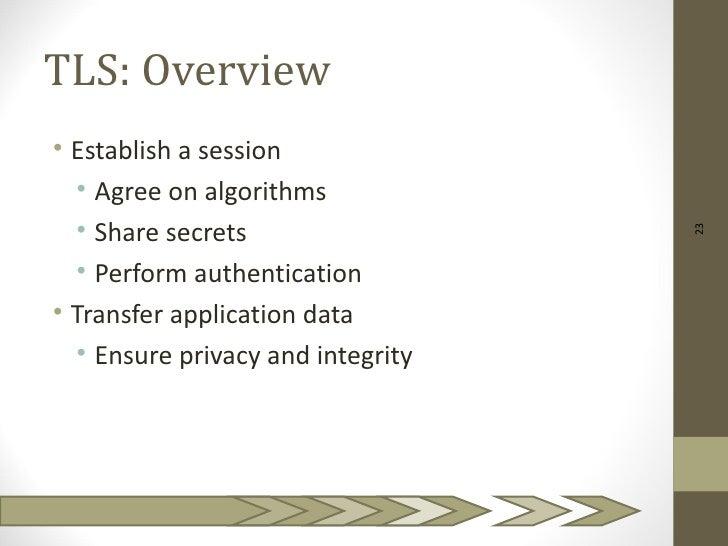 TLS: Overview• Establish a session  • Agree on algorithms  • Share secrets                                   23  • Perform...