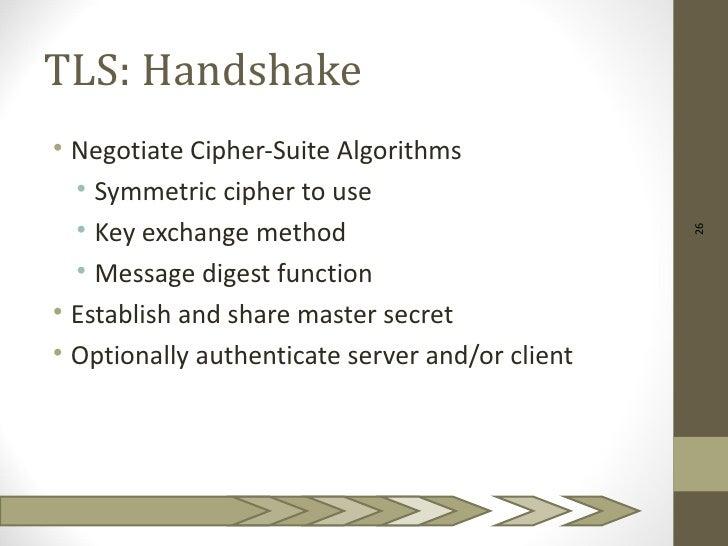 TLS: Handshake• Negotiate Cipher-Suite Algorithms  • Symmetric cipher to use  • Key exchange method                       ...