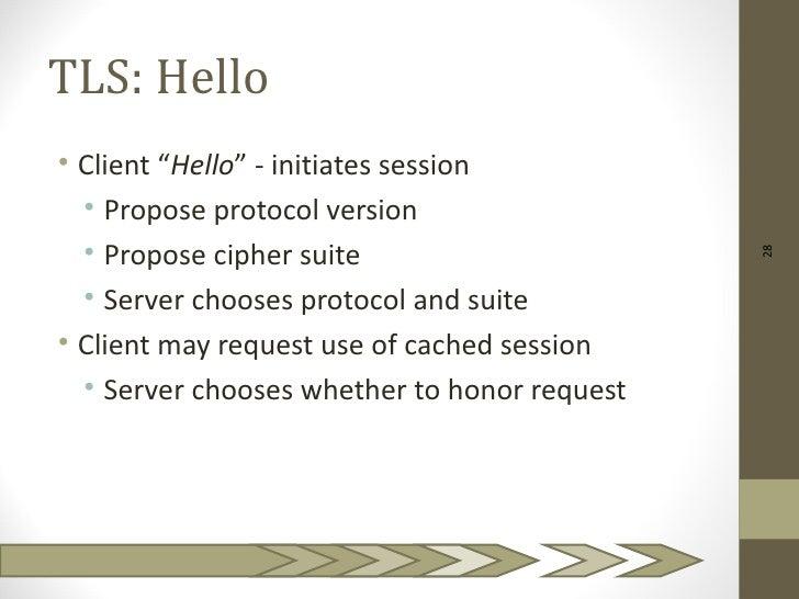 "TLS: Hello• Client ""Hello"" - initiates session  • Propose protocol version  • Propose cipher suite                        ..."