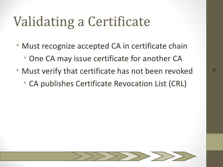 Validating a Certificate• Must recognize accepted CA in certificate chain  • One CA may issue certificate for another CA• ...