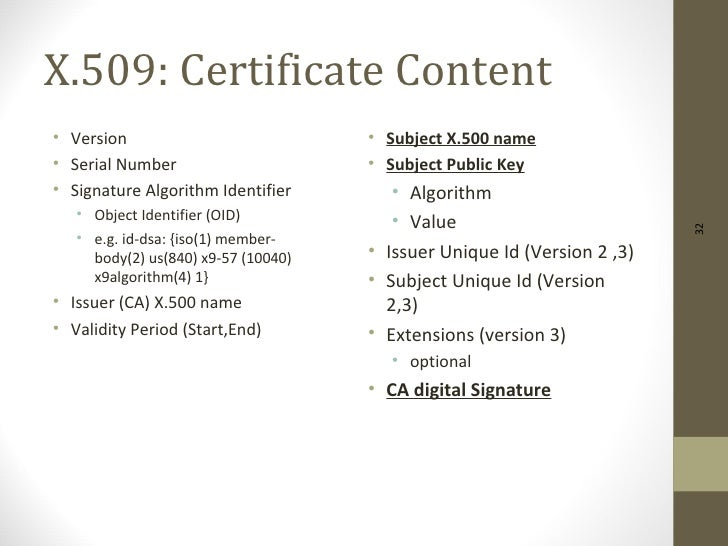 X.509: Certificate Content• Version                            • Subject X.500 name• Serial Number                      • ...
