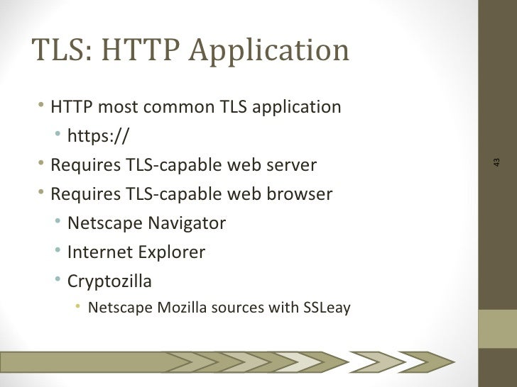 TLS: HTTP Application• HTTP most common TLS application  • https://• Requires TLS-capable web server                      ...