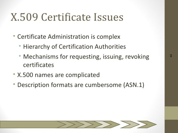 X.509 Certificate Issues• Certificate Administration is complex  • Hierarchy of Certification Authorities  • Mechanisms fo...