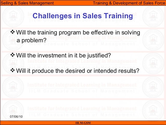 Ssm Lecture   Training  Development Of The Sales Force