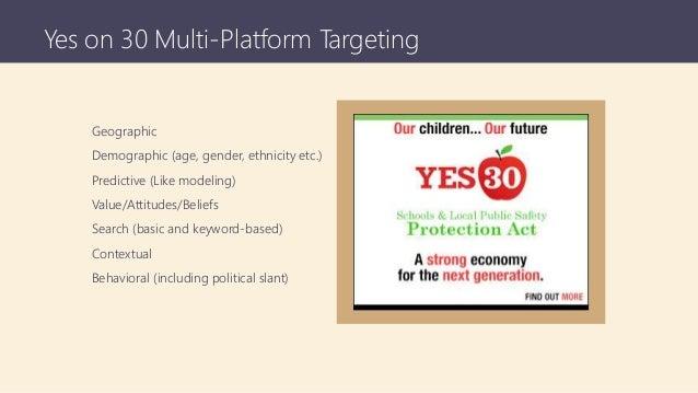 Yes on 30 Multi-Platform Targeting Geographic Demographic (age, gender, ethnicity etc.) Predictive (Like modeling) Value/A...