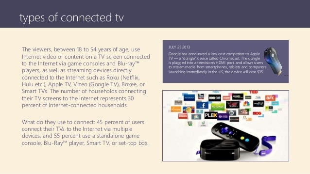 types of connected tv The viewers, between 18 to 54 years of age, use Internet video or content on a TV screen connected t...