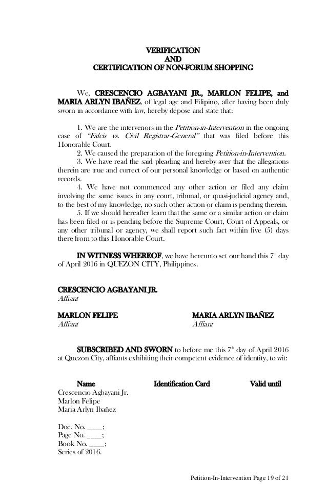 Petition in intervention to the supreme court of the philippines on m 19 petition in intervention page 19 of 21 verification and certification of non forum shopping yelopaper Images