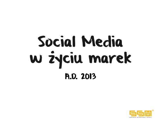 Social Mediaw życiu marek    A.D. 2013