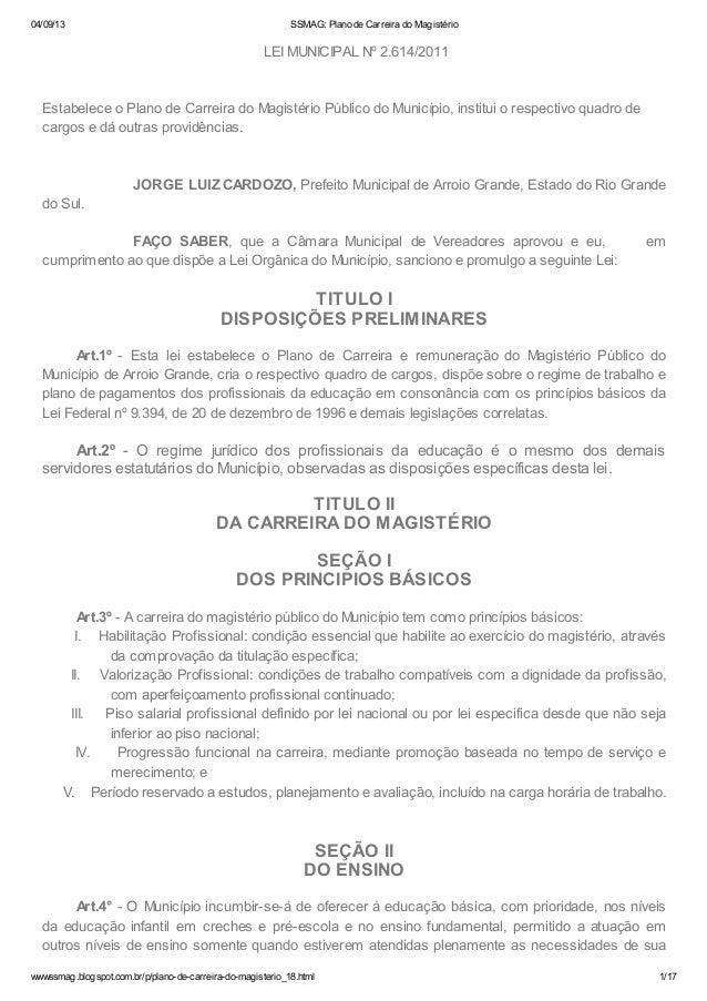 04/09/13 SSMAG: Plano de Carreira do Magistério wwwssmag.blogspot.com.br/p/plano-de-carreira-do-magisterio_18.html 1/17 LE...
