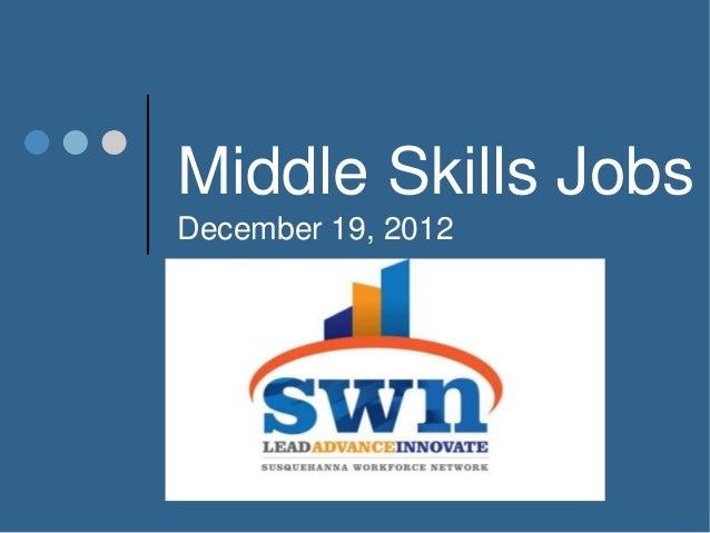 Middle Skills JobsDecember 19, 2012