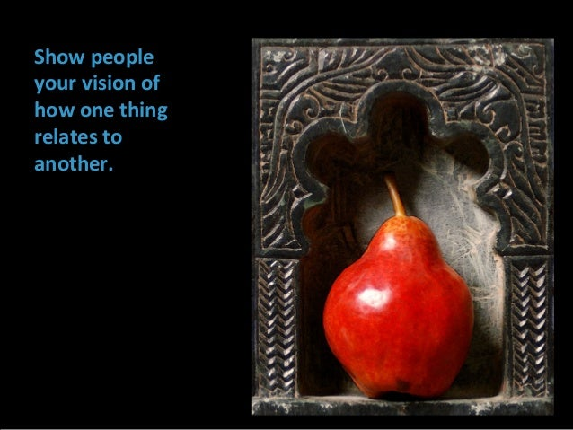 Show people your vision of how one thing relates to another.