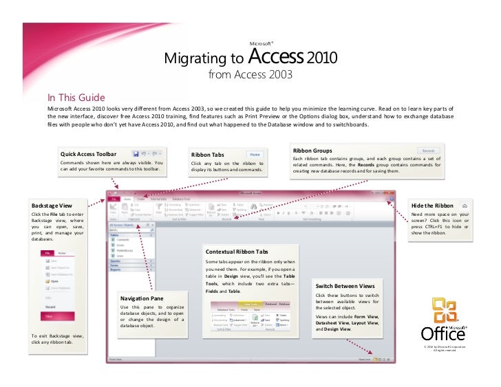 Migrating to Access 2010                                                                                                  ...