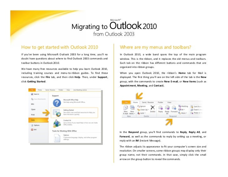 Migrating to outlook 2010 from outlook 2003 microsoft 2 migrating to outlook reheart Gallery