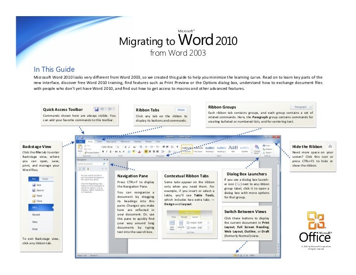 Migrating to Word 2010                                                                                                    ...