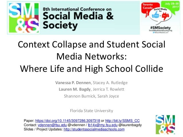 Context Collapse and Student Social Media Networks: Where Life and High School Collide Vanessa P. Dennen, Stacey A. Rutled...